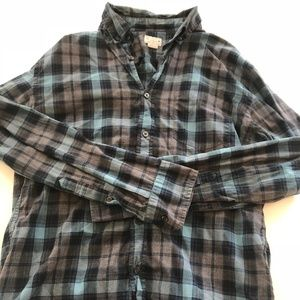 Blue and Gray Checkered Long Sleeve Shirt
